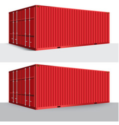 3d perspective red cargo container shipping vector