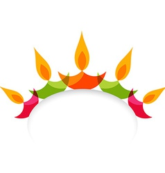 Stylish colorful diwali diya isolated on white vector