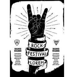 Rock festival poster rock and roll hand sign vector