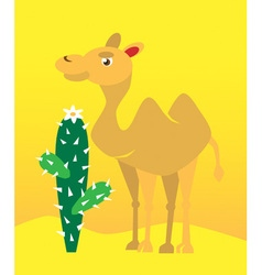Camel and cactus vector