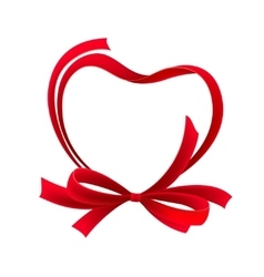 Red heart ribbon bow vector