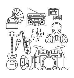 Music instruments thin line icons vector