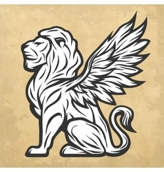 Lion statue with wings vintage style vector