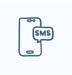 Smartphone with message sketch icon vector