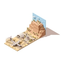 Isometric low poly desert airport vector