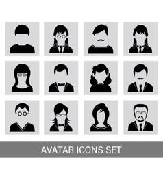 Black avatar icon set vector