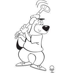 Cartoon dog playing golf vector image vector image