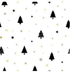 Christmas seamless pattern with black christmas vector