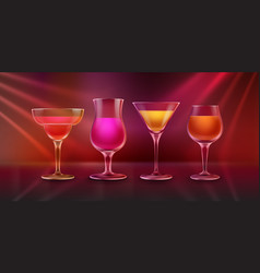 cocktails on bar counter vector image