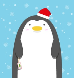 cute big fat penguin wear christmas hat vector image vector image