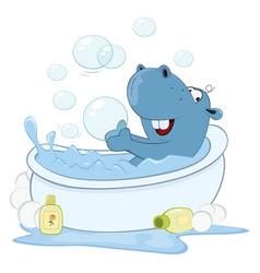 cute little hippo cartoon vector image vector image