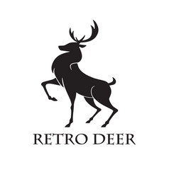 Deer logo retro template vector