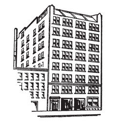 Eight story apartment building vintage vector