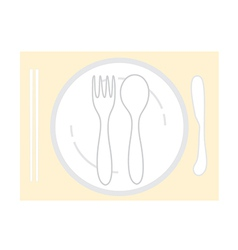 empty plate with spoon chopsticks and knife fork vector image