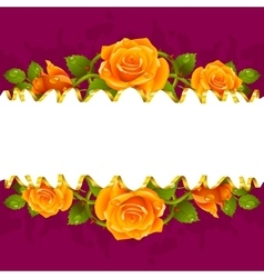 Frame whith yellow roses vector