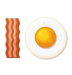 Fried egg and slices of bacon luncheon icon vector