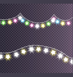 garland made of shining big small glittering stars vector image vector image