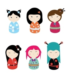 Kawaii kokeshi set vector image