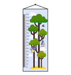 kids height chart with tree vector image vector image