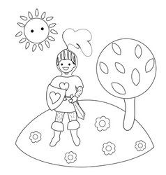 Knight in the clearing in the woods coloring book vector
