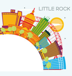 Little rock skyline with color buildings blue sky vector