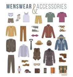 Men fashion clothes and accessories flat icons vector image vector image
