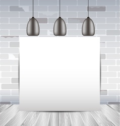 Mock up frame in the room with white brick wall vector