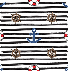 Nautical and Anchor Seamless Pattern vector image