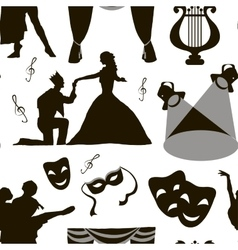 Pattern of theatre acting performance icons vector