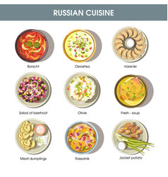 Russian food cuisine icons for restaurant vector