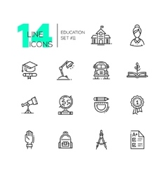 School and Education - line icons set vector image vector image