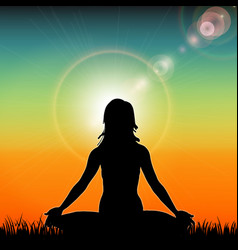 Silhouette of yoga woman on sunset background vector