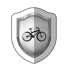 Sticker metallic shield with silhouette bicycle vector