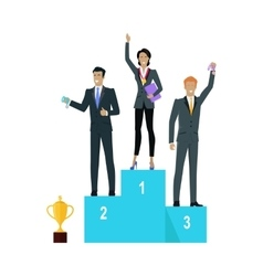 Successful Team Banner People on Winners Podium vector image