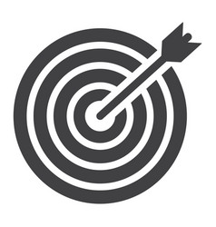 target solid icon business and dartboard vector image