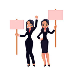two girls women businesswomen on strike holding vector image vector image