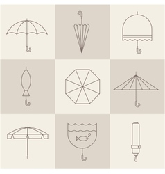 umbrella icons vector image vector image