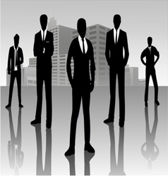 Businessman standing on cityscape vector