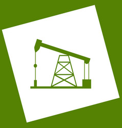 Oil drilling rig sign  white icon obtained vector