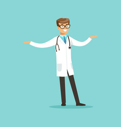 young smiling male doctor character standing vector image