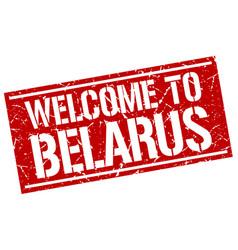 Welcome to belarus stamp vector
