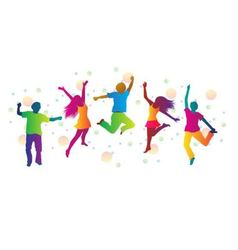 Jumping people and colored spots vector