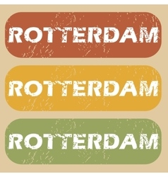 Vintage rotterdam stamp set vector