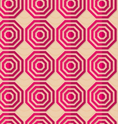 Retro fold pink striped octagons vector