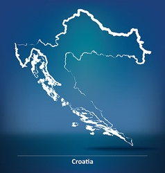 Doodle map of croatia vector