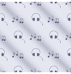 Pattern with notes and headphones vector