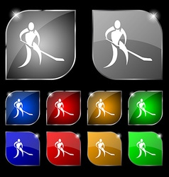 Winter sport hockey icon sign set of ten colorful vector