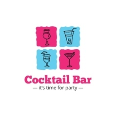 Trendy cocktail bar logo in doodle style vector