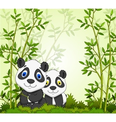 Funny cartoon panda with bamboo forest background vector