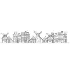 amsterdam houses windmill and city style vector image
